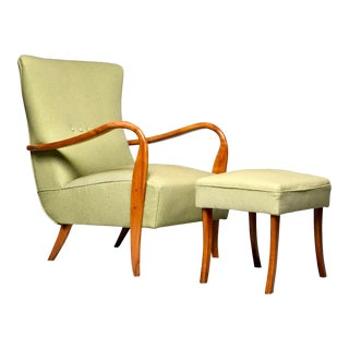 Mid Century Italian Armchair and Stool With New Upholstery For Sale