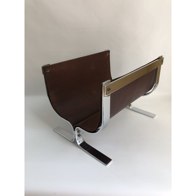 Contemporary Mid-Century Modern Danny Alessandro Chrome & Leather Log Holder or Magazine Rack For Sale - Image 3 of 11