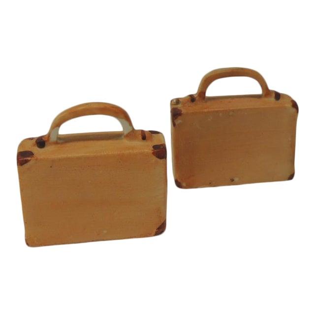 Pair of Orange and Brown Bisque Porcelain Trendy Handbags Salt & Pepper Shakers For Sale