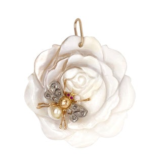Carved Rose Pendant W/ 18k Gold Platinum Diamond Ruby Bee For Sale