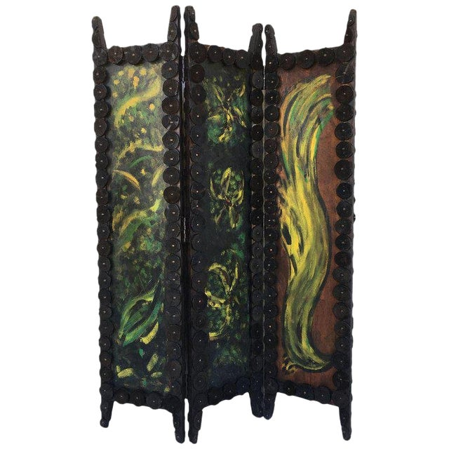 20th Century Arts & Crafts Folding Screen & Hand Painted Decoration Room Divider For Sale