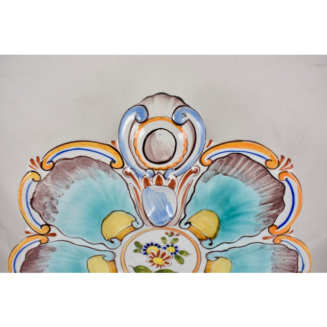 Late 19th Century St. Clément French Faïence Turquoise Floral Oyster Plate For Sale - Image 5 of 12