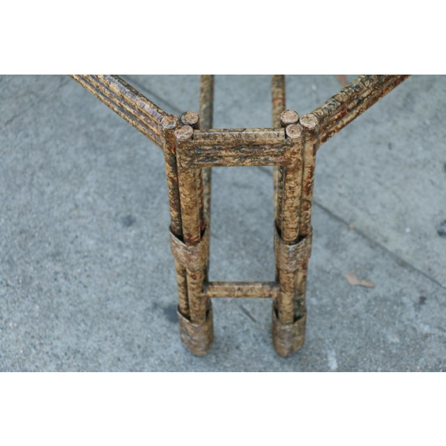 Gold Metal Distressed Rustic Coffee Table For Sale - Image 8 of 10