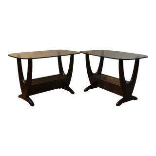 Mid Century Modern Adrian Pearsall Satin Black Accent Side Tables - a Pair For Sale
