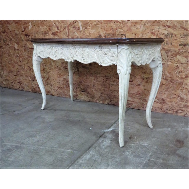 French Style Faux Painted Carved Console Table - Image 6 of 6