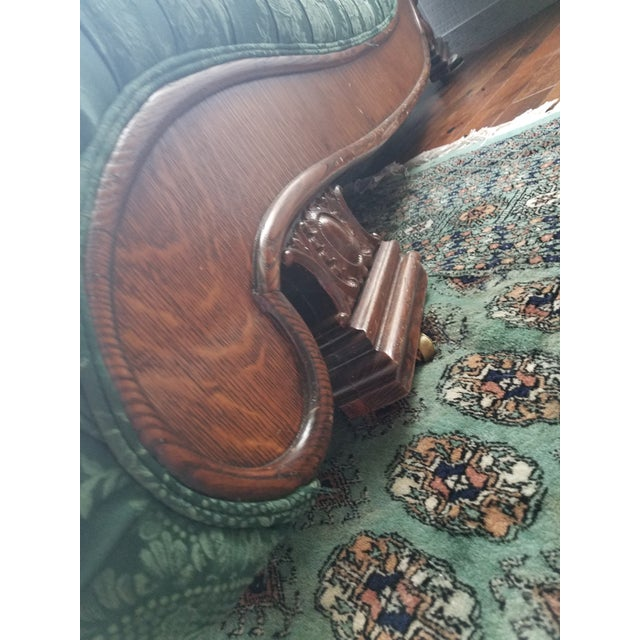 Mid 18th Century Antique 1880s Green Floral Re Upholstered Chaise Lounge For Sale - Image 5 of 9