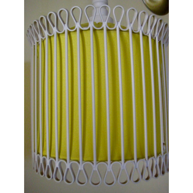 Mid-Century Modern White and Yellow Iron Chandelier For Sale - Image 6 of 11