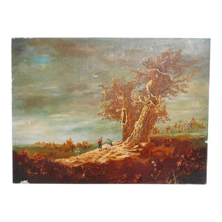 Early 20th Century Antique Wayne Potts Harvest Scene Oil on Canvas Painting For Sale