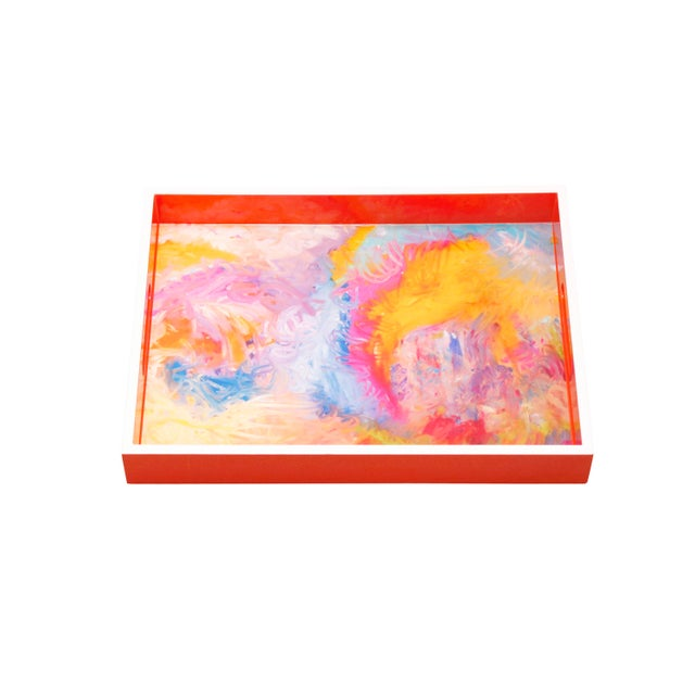 """Stunning Wood Lacquer tray featured Painter/Artist """"Bruce Mishell"""" titled """"The Other Side"""" with orange frame and white..."""