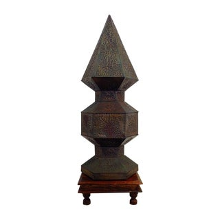 Moroccan Style Pierced Tin Lamp on Wooden Base For Sale