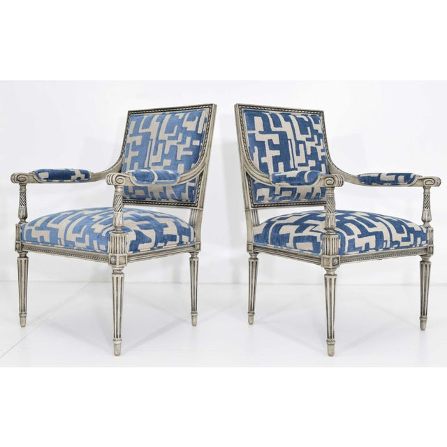 Louis XVI Style Lounge Chairs in Blue/Taupe - a Pair For Sale In Dallas - Image 6 of 11