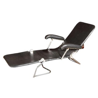 1940s Chrome and Black Adjustable Lounge Chair For Sale