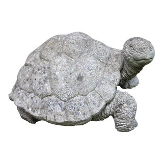 "English Cast Stone ""Walking"" Garden Turtle For Sale"
