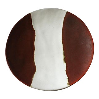 1980s Contemporary Japanese Style Ox Blood Matte Finish Decorative Plate For Sale