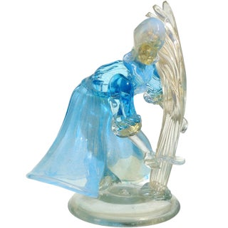 Murano Opalescent Blue White Gold Flecks Italian Art Glass Farmer Sculpture For Sale