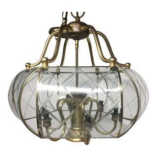 Brass & Pattern Glass Ceiling 6-Light Chandelier