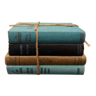 Antique Cool Toned Decorative Books —Set of 4 For Sale