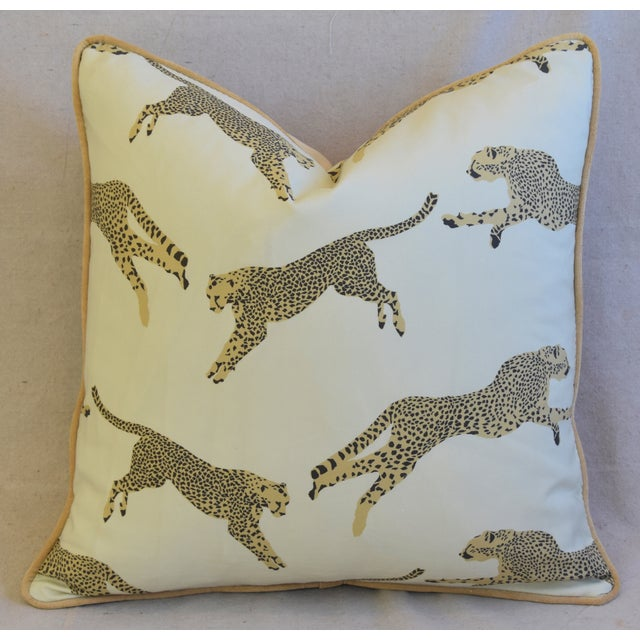 """Early 21st Century Scalamandre Cheetah & Velvet Feather/Down Pillow 20"""" Square For Sale - Image 5 of 10"""