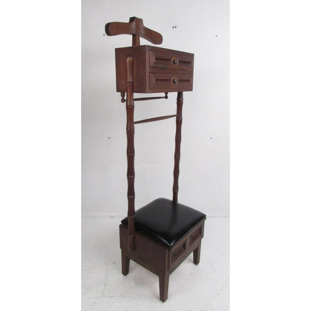 Vintage Walnut and Vinyl Valet Chair For Sale - Image 13 of 13