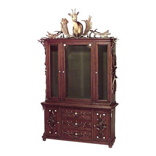 Continental 'German' Horn and Oak Bookcase Cabinet For Sale