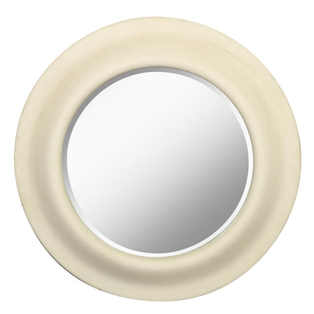 Modern Vintage Faux Stone Round Wall Mirror For Sale - Image 3 of 3