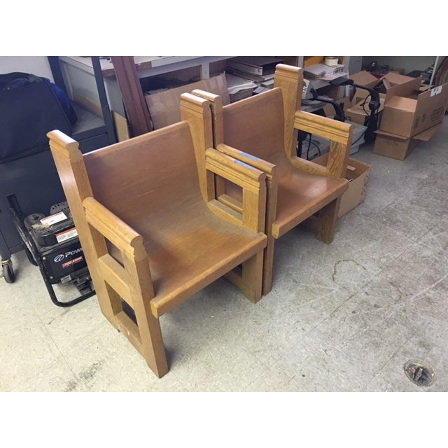 Church-Sourced Deacon's Chairs - A Pair - Image 2 of 3