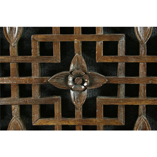 Antique Chinese Geometric Carved Window Screen - Image 5 of 7