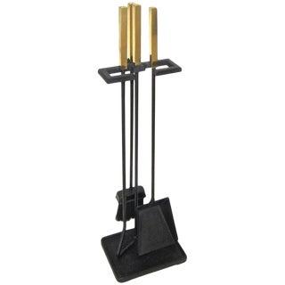 Mid Century Modernist Brass Cast Iron Fireplace Tool Set For Sale