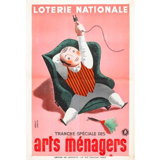 1938 Original French Art Deco Poster, Loterie Nationale: Arts Ménagers For Sale