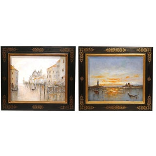Mid-20th Century Oil on Canvas Venice Paintings in Decorative Frames - a Pair For Sale