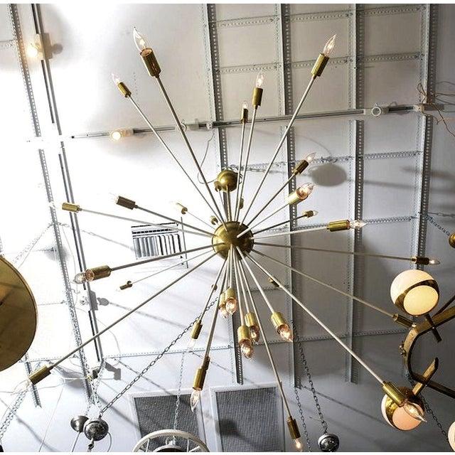 1970s Mid Century Modern Extra Large Enamel/Brass Sputnik 33 Lights Chandelier For Sale - Image 5 of 7