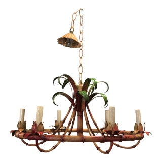 Vintage Italian Palm Beach Tropical Metal Tole Faux Bamboo 6 Light Chandelier For Sale