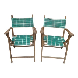 Classic Vintage Folding Lawn Chairs With Laced Seat Covers For Sale