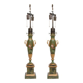 Pair of Victorian Painted Tole Lamps For Sale