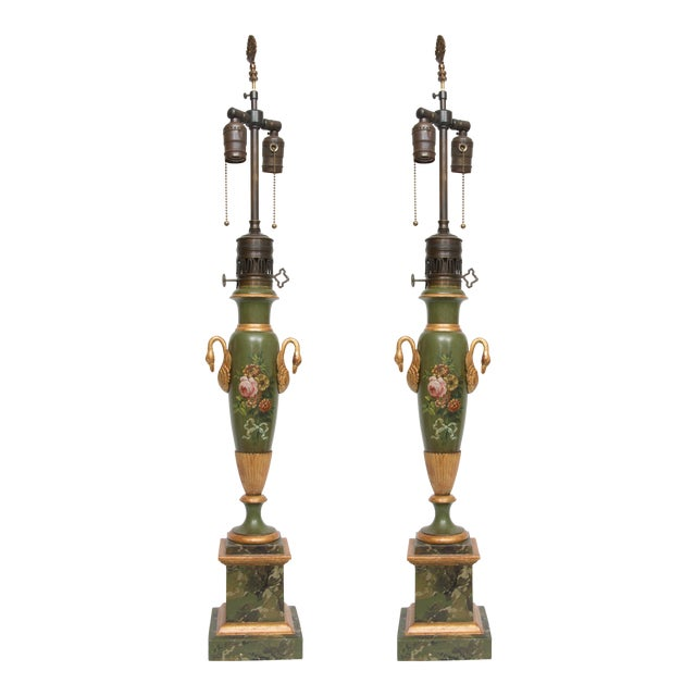 Pair of Victorian Painted Tole Lamps - Image 1 of 9