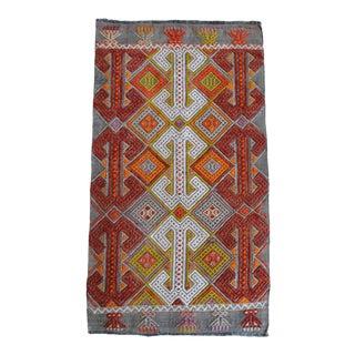 Hand-Made Braided Turkish Small Rug Jajim Kilim - 1′7″ × 2′19″ For Sale