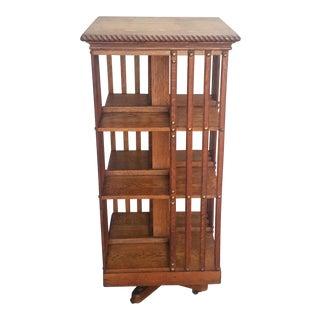 Antique American Tiger Oak Revolving Rotating Bookcase For Sale