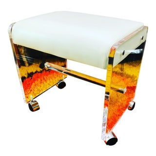 Lucite Vanity Stool Bench in White For Sale