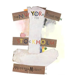 "Robert Rauschenberg New York Collection for Stockholm 34.75"" X 25.25"" Poster 1968 Pop Art Brown, Gray, Multicolor For Sale"
