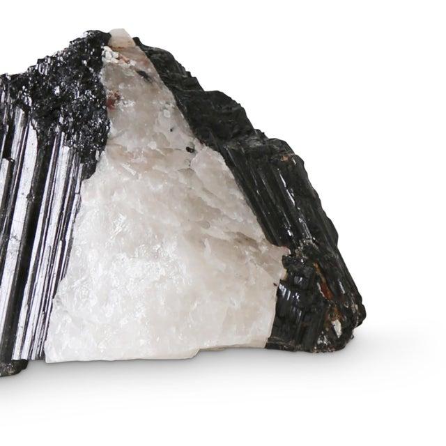 Modern Sleek Black and White Tourmaline 6 Specimen For Sale - Image 4 of 5