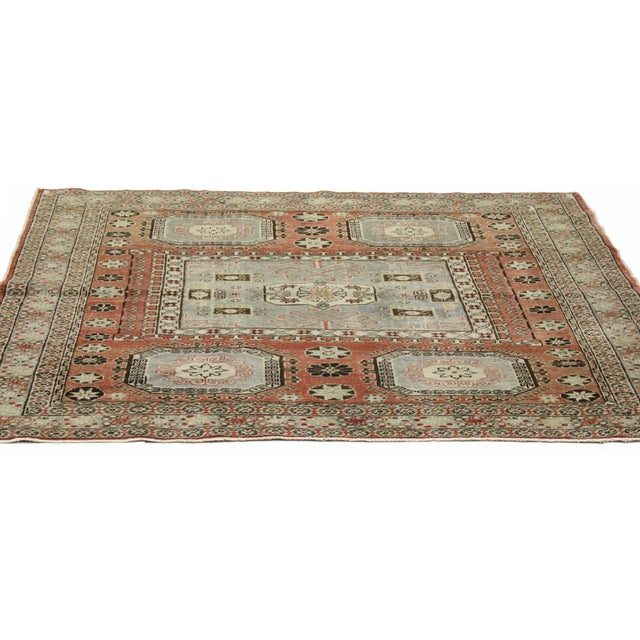 """Distressed Turkish Mid-Century Modern Style Square Rug - 4'3"""" x 4'5"""" - Image 3 of 7"""