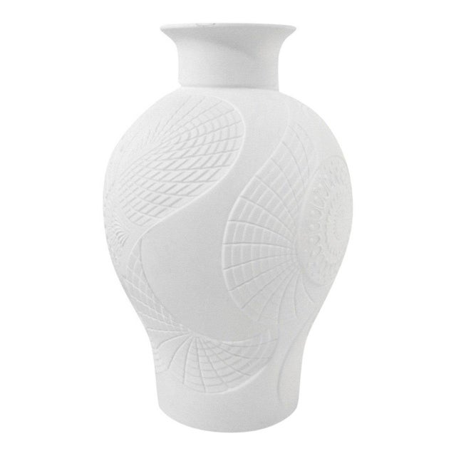 Art Deco Art Deco White Bisque Vase with Stylized Floral Design For Sale - Image 3 of 6