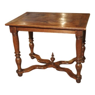 Antique Louis XIV French Oak Table With X Shaped Stretchers, C. 1700 For Sale