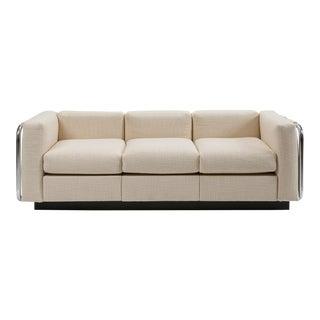 Mid-Century Tubular Chrome Wool Platform Tuxedo Sofa