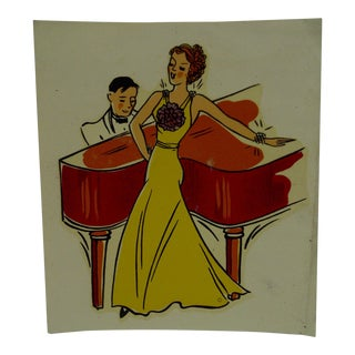 "1930s Vintage Decal / Wall Decoration ""Singing at the Piano"" the Meyercord Co. Chicago"