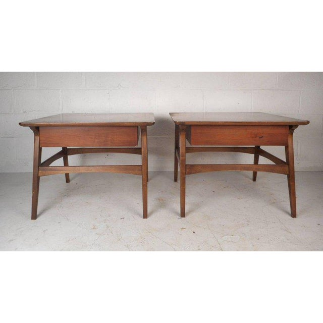 Vintage Modern Walnut Nightstands - A Pair For Sale - Image 5 of 9