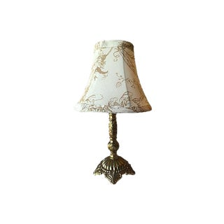 Swedish Gustavian Style Brass Lamp With Cream Floral Shade For Sale