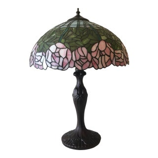 Meyda Tiffany- Style Cabbage - Rose Table Lamp For Sale
