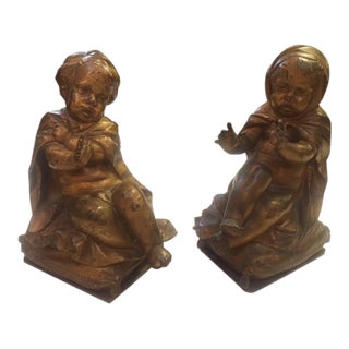 Pair of Gold Bronze Statue For Sale