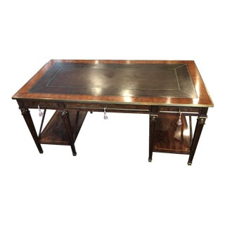 Theodore Alexander Traditional Mahogany and Zebrawood Writing Desk